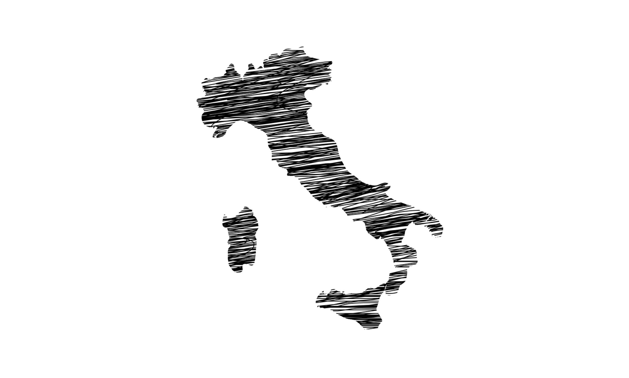 Layout dell'Italia disegnato in matita nera